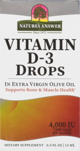 Nature's Answer Vitamin D-3 Drops Perspective: front