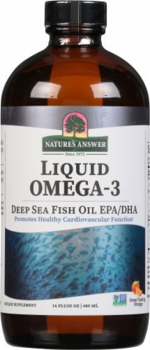 Natures Answer Liquid Omega-3 Deep Sea Fish Oil EPA / DHA Orange Flavored Dietary Supplement Perspective: front
