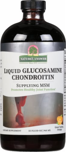 Nature's Answer  Liquid Glucosamine and Chondroitin with MSM   Natural Orange Perspective: front