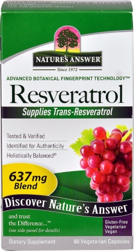 Nature's Answer Resveratrol Vegetarian Capsules 637mg Perspective: front
