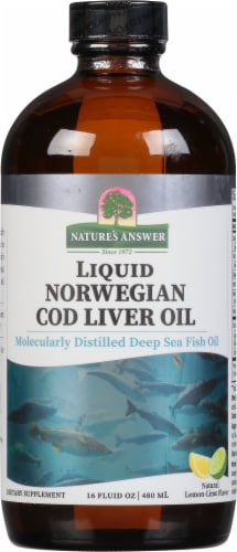 Nature's Answer Norwegian Cod Liver Oil Orange Flavored Dietary Supplement Perspective: front