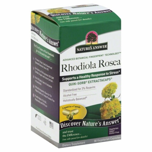 Nature's Answer Rhodiola Rosea Vegetarian Capsules Perspective: front