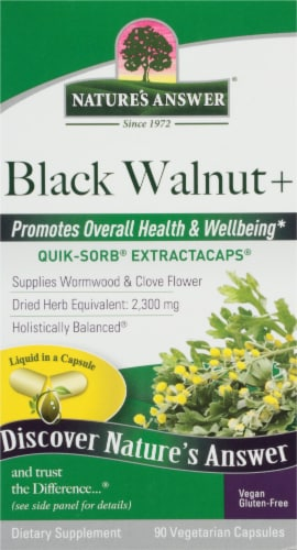 Nature's Answer Black Walnut Vegetarian Capsules Perspective: front