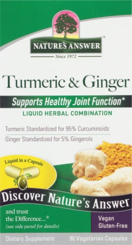 Nature's Answer Turmeric & Ginger Vegetarian Capsules Perspective: front
