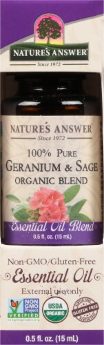 Nature's Answer Geranium & Sage Essential Oil Perspective: front