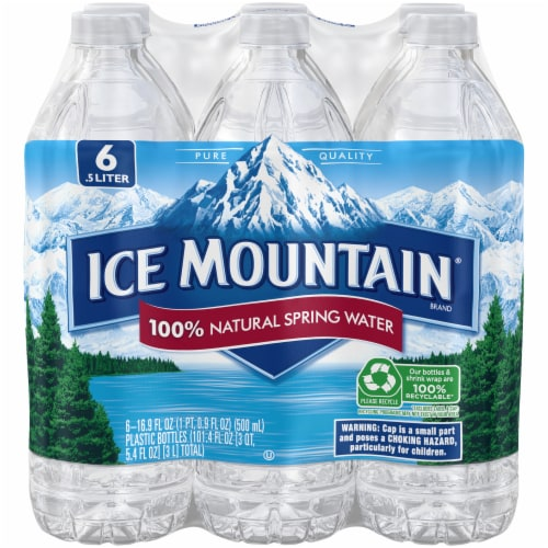 Ice Mountain Natural Spring Water 6 Count Perspective: front
