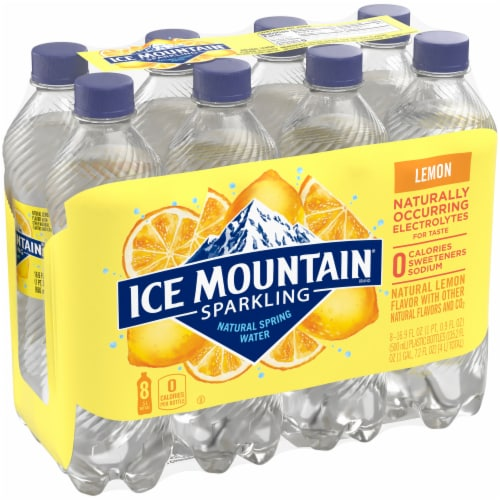 Ice Mountain Lively Lemon Sparkling Water 8 Count Perspective: front