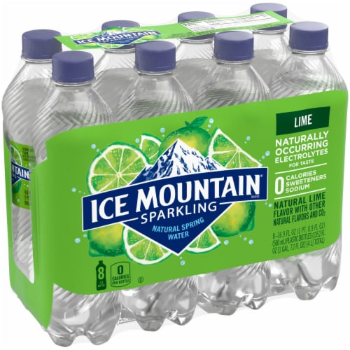 Ice Mountain Zesty Lime Sparkling Water 8 Count Perspective: front