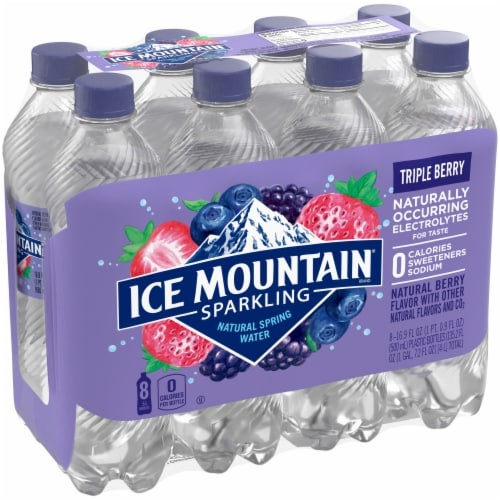 Ice Mountain Triple Berry Sparkling Water 8 Count Perspective: front