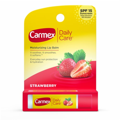 Carmex Daily Care Strawberry Lip Balm Perspective: front