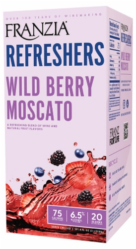 Franzia Refreshers Wild Berry Moscato Box Wine Perspective: front
