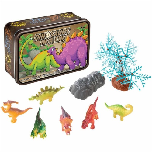 15 Pc Dinosaurs in a Tin Travel Toy Set Perspective: front