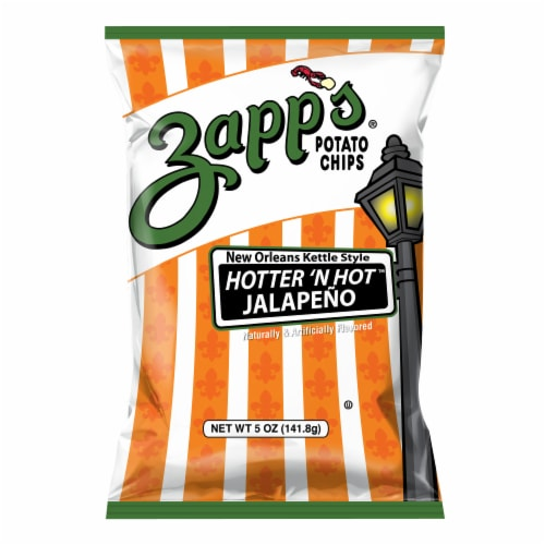 Zapp's Hotter 'n Hot Jalapeno New Orleans Kettle Style Potato Chips Perspective: front