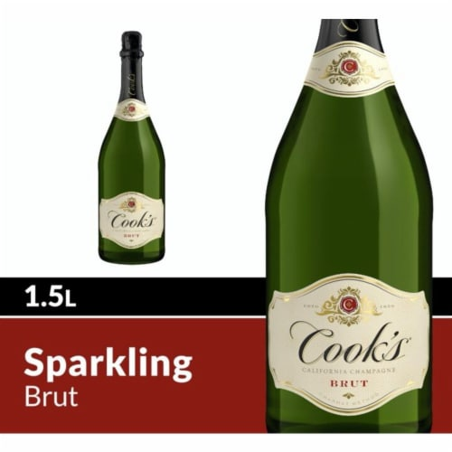 Cook's Brut White Champagne Sparkling Wine Perspective: front