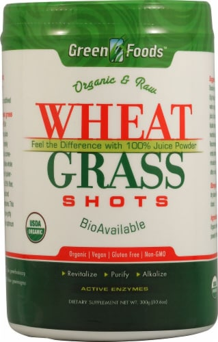 Green Foods Organic and Raw Wheat Grass Shots Perspective: front