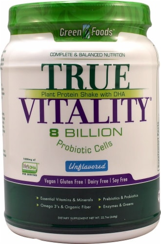 Green Foods True Vitality Unflavored Plant Protein Shake with DHA Perspective: front