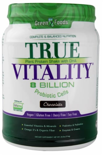Green Foods True Vitality Chocolate Flavored Plant Protein Shake with DHA Perspective: front