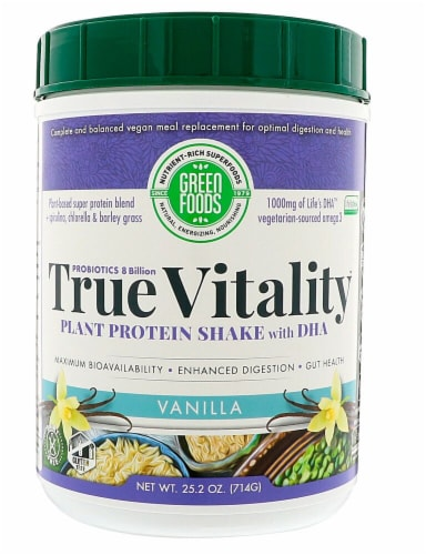 Green Foods  True Vitality Vanilla Plant Protein Shake with DHA Perspective: front
