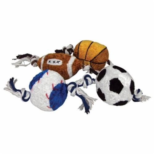 Diggers Multicolored Rope Sports Ball Plush/Rope Dog Toy Large - Case Of: 1; Perspective: front