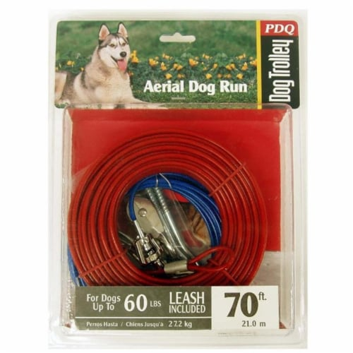 Boss Pet PDQ Red Tie-Out Vinyl Coated Cable Dog Tie Out Large - Case Of: 1; Perspective: front