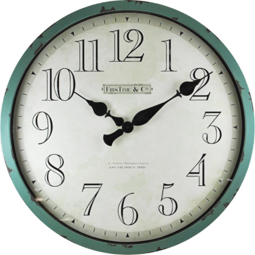 FirsTime® Bellamy Wall Clock - Aged Teal Perspective: front