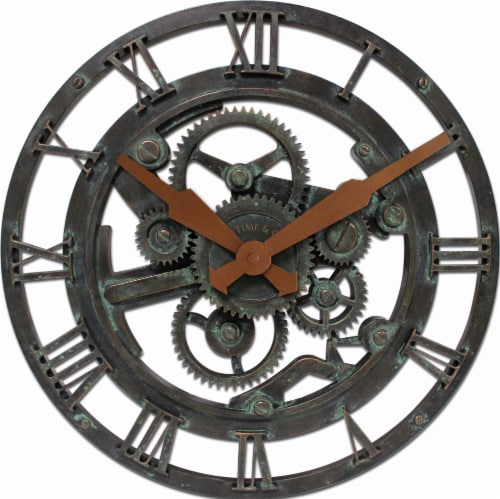 FirsTime® Oxidized Gears Wall Clock - Black Perspective: front