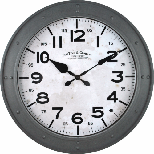 FirsTime Donovan Wall Clock - Gray Perspective: front