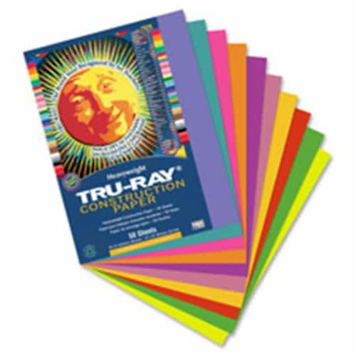 """Tru-Ray Construction Paper - Project - 12"""" x 9"""" - 50 / Pack - Salmon - Sulphite Perspective: front"""