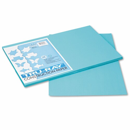 Pacon Tru-Ray Construction Paper, 76lb, 12 X 18, Turquoise, 50/Pack 103039 Perspective: front