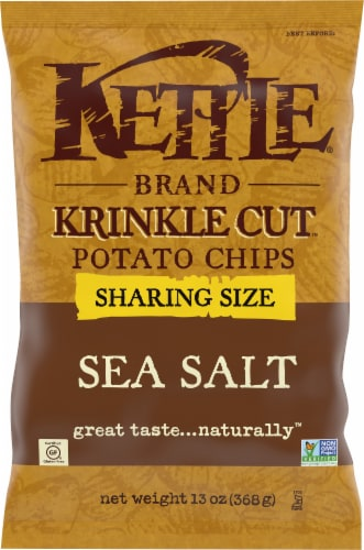 Kettle Brand Sea Salt Krinkle Cut Potato Chips Sharing Size Perspective: front