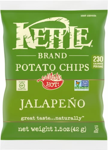 Kettle Brand Hot Jalapeno Potato Chips Perspective: front