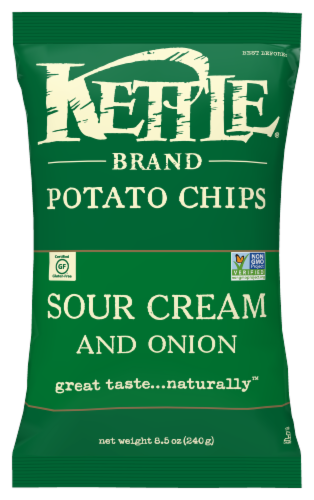 Kettle Brand Sour Cream & Onion Potato Chips Perspective: front