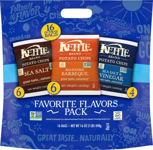 Kettle Brand Favorite Flavors Kettle Chips Variety Pack Perspective: front