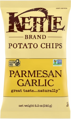 Kettle Brand Parmesan Garlic Potato Chips Perspective: front