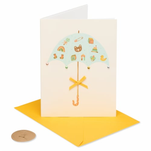 Papyrus Baby Shower Card (Umbrella) Perspective: front