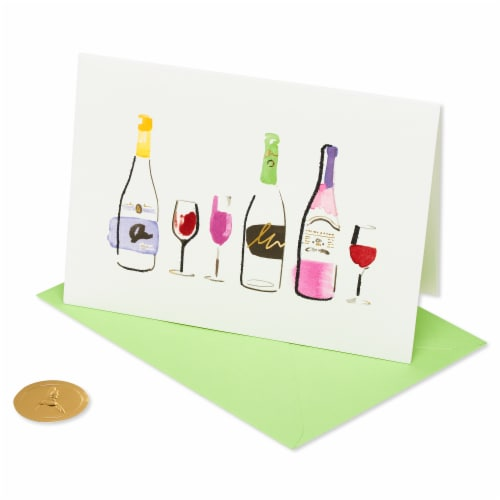 Papyrus Blank Card (Wine Bottles) Perspective: front