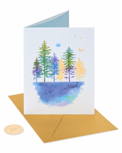 Papyrus Blank Thinking of You Card (Watercolor Trees) Perspective: front