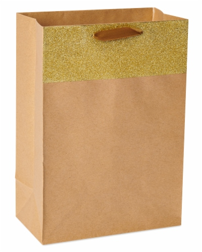 American Greetings Kraft Gold Gift Bag Perspective: front