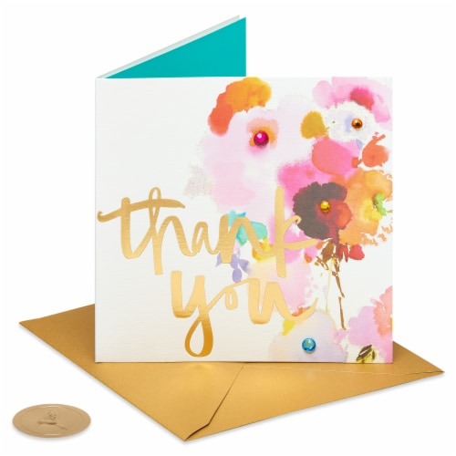 Papyrus Thank You Card (Watercolor Flower) Perspective: front