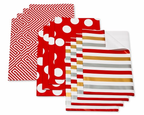 American Greetings Wrapping Paper Sheets with Gridlines Stripes and Polka Dots Perspective: front