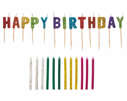 American Greetings Party Supplies Glitter and Toothpick Birthday Candle Bundle Perspective: front
