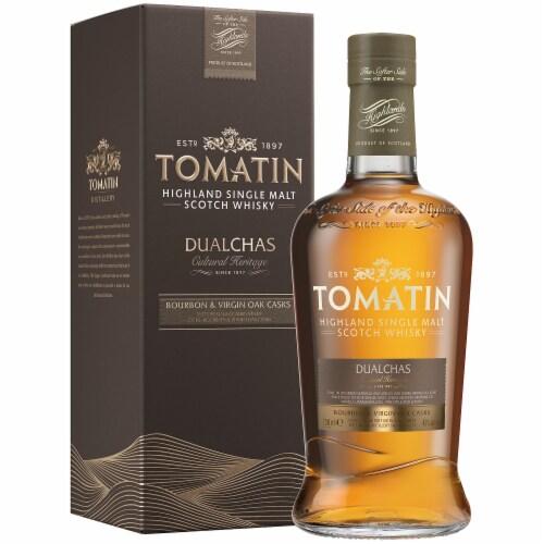 Tomatin Dualchas Highland Single Malt Scotch Whisky Perspective: front