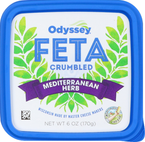 Odyssey Mediterranean Herb Crumbled Feta Cheese Perspective: front