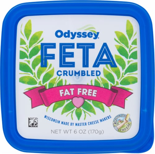 Odyssey Fat Free Crumbled Feta Cheese Perspective: front