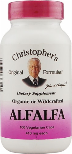 Christopher's Alfalfa Vegetarian Capsules 410mg Perspective: front