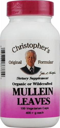 Christopher's Mullein Leaves Vegetarian Capsules 400mg Perspective: front