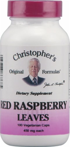 Christopher's Red Raspberry Leaves Vegetarian Caps 450mg Perspective: front