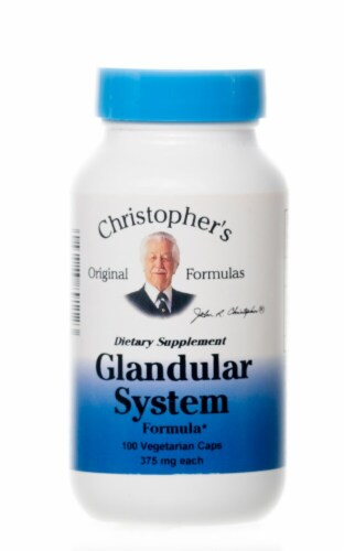 Christopher's Glandular System Vegetarian Caps 375mg Perspective: front