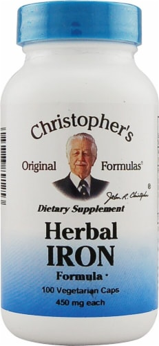 Christopher's Herbal Iron Formula Vegetarian Caps 450mg Perspective: front