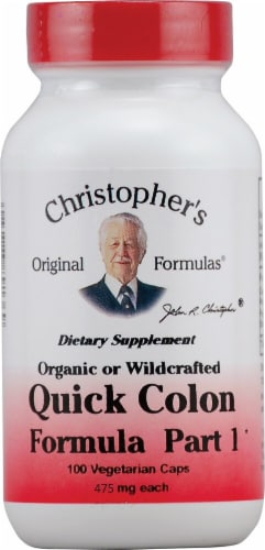 Christopher's Quick Colon Formula Part 1 Vegetarian Capsules 475mg Perspective: front